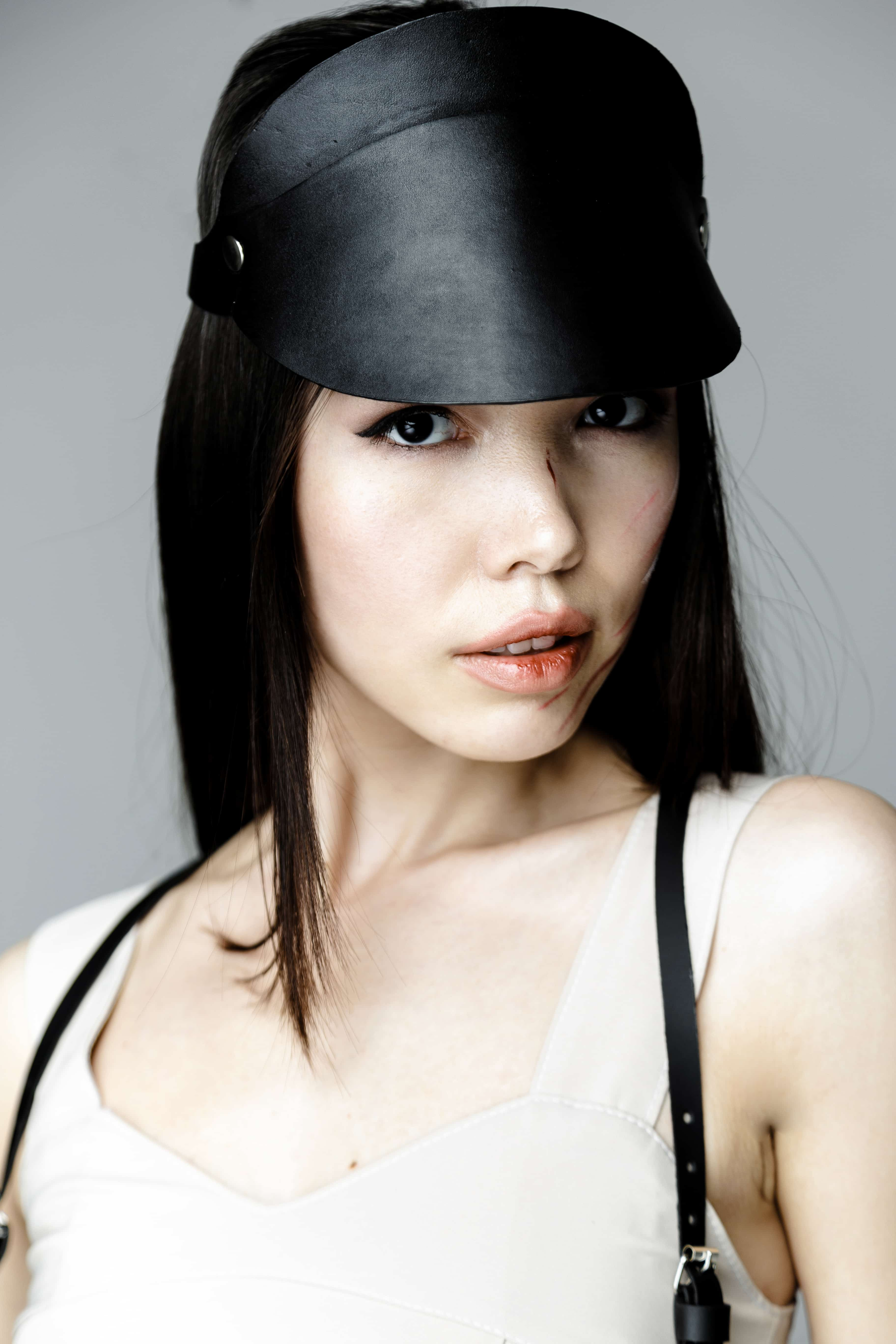 Black Classic Leather Sun Visor Hat